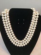 VINTAGE 3 Strand Faux Pearl COLLANA Tono Oro Fibbia barra 43cm