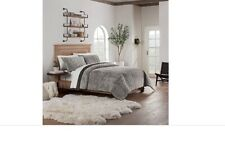 Ugg Pinecreek Quilt Set Twin Faux Fux reversible microvelvet chocolate grey gray