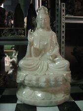 Superb Very Large White Marble Stone Jade Buddhist Guanyin Kwanyin Kannon Statue