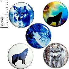 """Wolf Button 5 Pack Wolves Cool Nature Wolf Lover Gift Pin Set Awesome 1"""" P1-4"""