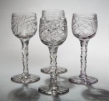 Four Edwardian Antique Liqueur Glasses with Tall Facet Cut Stems - c1910