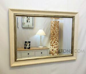 John Lewis Orabelle Bevelled Wall Mirror Ivory Gilt Effect Wood Frame 65x90cm