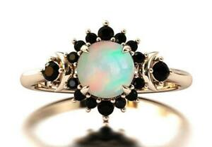 Natural Round Cabochon Opal Black Onyx Ring Wedding/Engagement Ring For Women