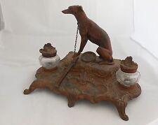 Antique BOSSU Greyhound Inkwell ~ Glass Bottles, Cast Iron