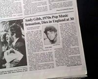 ANDY GIBB Singer Youngest Brother of Bee Gees DEATH 1988 Los Angeles Newspaper