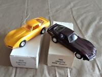 Vintage Dealer Promo Car Lot of Two Corvette 1980 Yellow 1982 Dark Claret