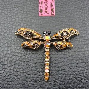 Charm Shiny Gold Crystal Cute Dragonfly Betsey Johnson Brooch Pin Gifts