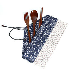 Wooden Chopsticks Japanese Tableware Fork Spoon kitchen tool mini With Cloth Bag