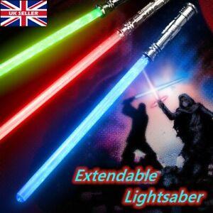 LED Lightsaber Laser Saber Plastic Sci-Fi Toy with Light Extendable UK