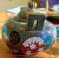 "Antique/Vintage Japanese Cloisonne Lidded Jar. Intricate. Handles. 4""d,3""h"