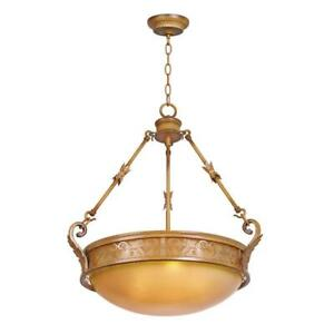 Hampton Bay Florentina 3-Light Amandale Bowl Pendant