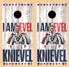 I Am Evel Knievel Barnwood Cornhole Board Wraps #2658