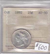 1892 CANADIAN 25 CENT COIN ICCS CERT AU-50