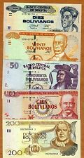 Complete SET Bolivia, 10;20;50;100;200 Bolivianos, L. 1986  Serie I-J, UNC