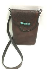 Paige Wallace Brown Leather Satchel w/Turquoise Stone Detail