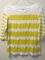 Ann Taylor LOFT Womens M Striped Boatneck Knit Top 3/4 Sleeve T-Shirt Yellow