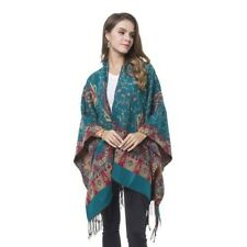 Blue, Red and Khaki Colour Paisley Pattern Reversible Kimono with Tassels