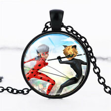 Wholesale Cabochon Glass Black  Chain Pendant Necklace ,Miraculous Ladybug /111