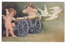 A Love Shot - Cupids - Floral Cannon - Doves - Vintage Greetings Postcard