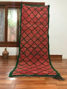"Vintage Moroccan Berber handmade Runner7'7""x2'7""Bohemian Geometric Red and Green"
