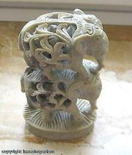 Specksteinelefant Elefant Figur aus Speckstein Tier 2 Stockelefanten mit Junges