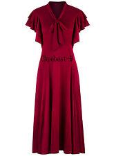 50's Swing Dresses Ruffle Vintage 1920s Flapper Dresses Flutter Sleeves Bowknots