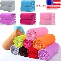 US Super Soft Solid Warm Micro Plush Fleece Throw Blanket Rug Sofa Bedding Solid