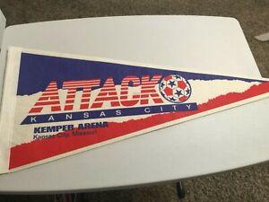 Vintage KC Attack Major Indoor Soccer League Pennant 30 Inch Kemper Arena KCMO