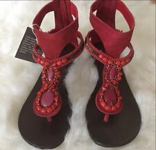 $180 Apepazza made in Italy sandals suede thong beaded Flat size 36 6.5 Red