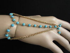 Women Gold Metal Hand Chain Fashion Jewelry Bracelet Turquoise Blue Bead Western