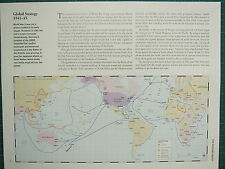 WW2 WWII MAP ~ GLOBAL STRATEGY 1941-45 BRITISH COMMONWEALTH CONVOY ROUTES
