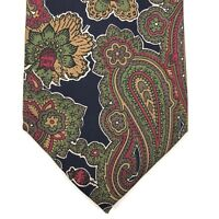 Isaco Men's Tie 100% SILK Made In ITALY Green Blue Red Floral Paisley Necktie 58