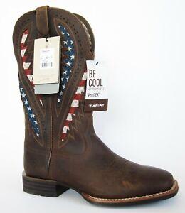 Ariat Quickdraw VentTEK Distressed Brown Patriotic Western Boots Size 12 EE 12EE