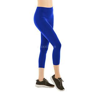Womens Capri Leggings Pants Yoga Cropped Seamless Women Solid Capris Stretch