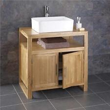 75cm Wide Cube Solid Oak Freestanding Bathroom Washstand Unit With Sink Basin