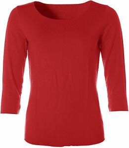 Jette Damen Basic 3/4-Arm Shirt T-Shirt Rundhals Rot 44 X4837