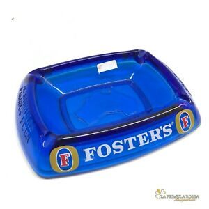 Posacenere pubblicitario vintage di birra in vetro FOSTER'S portacenere blu