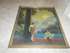 Vintage Art Deco Print Picture A. Atkinson Fox Sunrise Framed Glass 10.5 x 12 In