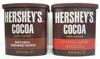 HERSHEY'S Cocoa 100% Natural Unsweetened or Sweet Dark Chocolate Powder Pick One