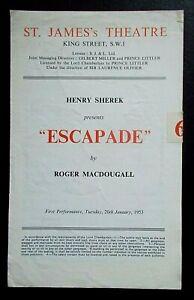 Escapade programme St James's Theatre 1953 Phyllis Calvert Edith Sharpe 200153