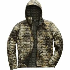 The North Face Men's THERMOBALL HOODIE Insulated Stowable Jacket Green Camo M