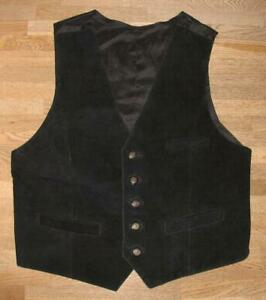 Men's Leather Vest/Velours Vest/Gilet With Fabric Back IN Black XL Approx. 52