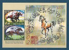 Nueva Zelanda 2002 Año del Caballo Hoja Fina en miniatura utilizados