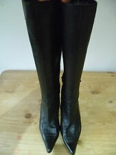 OFFICE UK7 SIZE 40 LADIES BLACK LEATHER KNEE HIGH BOOTS LEATHER LINED