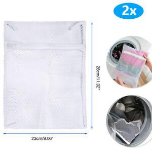 2x Zipped Wash Bag Net Laundry Washing Mesh Lingerie Underwear Bra Clothes Socks