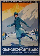 Vintage Ski carteles Chamonix Mont-Blanc, Francia, 1924, Art Deco De Viaje A3 impresión