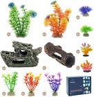 Aquarium Accessories Shipwreck Rock Plastic Plants Fish Tank Decorations Set