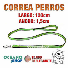 CORREA PERRO VERDE TEJIDO REFLECTANTE 1,5cm ANCHO 120cm LARGO L84 3364