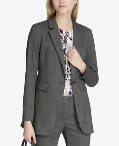Calvin Klein Size 14P One-Button Blazer Lapel Collar Herringbone Gray Petite