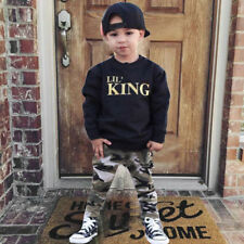Baby Kids Boy's Infant Letter T shirt Tops Camouflage Pants Outfits Clothes Set
